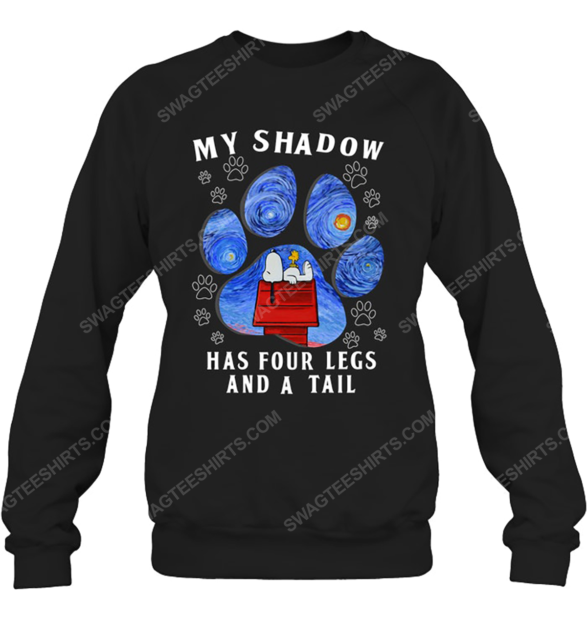 The starry night snoopy my shadow has 4 legs and a tail sweatshirt 1