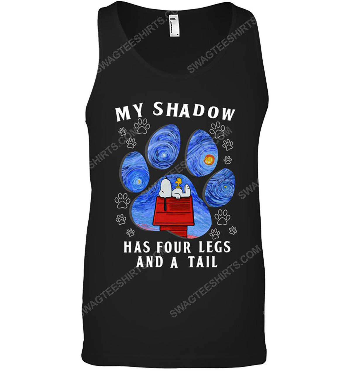 The starry night snoopy my shadow has 4 legs and a tail tank top 1