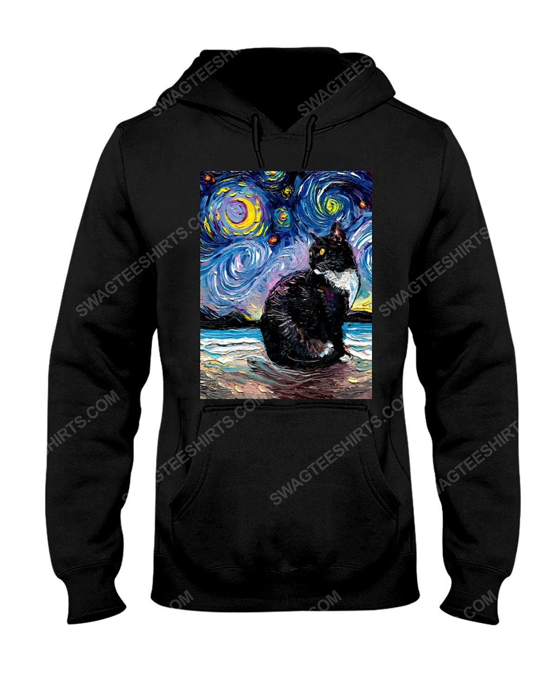 The vincent van gogh starry night black cat hoodie 1