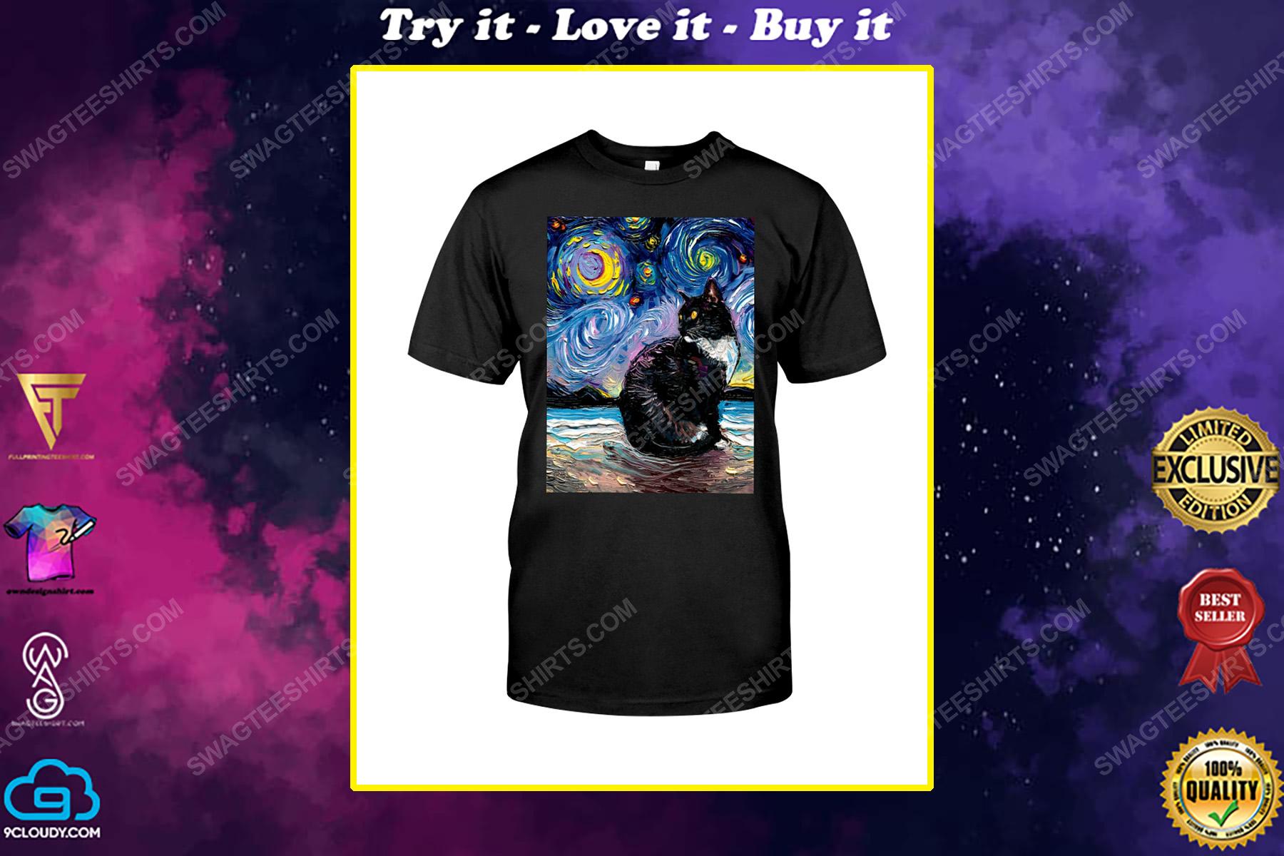 The vincent van gogh starry night black cat shirt