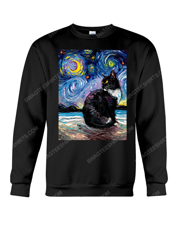 The vincent van gogh starry night black cat sweatshirt 1