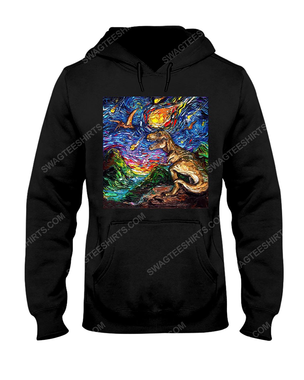 The vincent van gogh starry night dinosaur hoodie 1