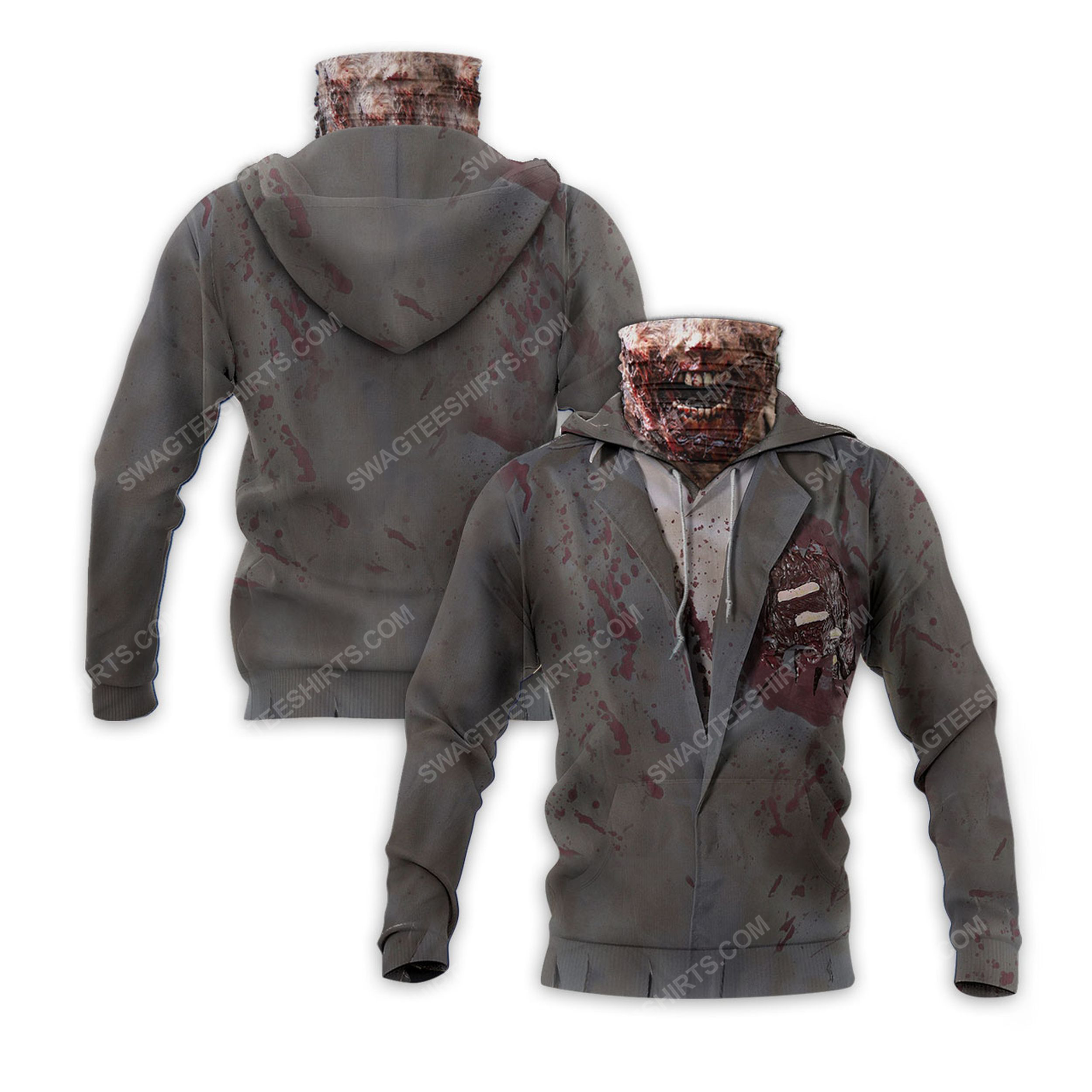 The zombie for halloween full print mask hoodie 2(1) - Copy