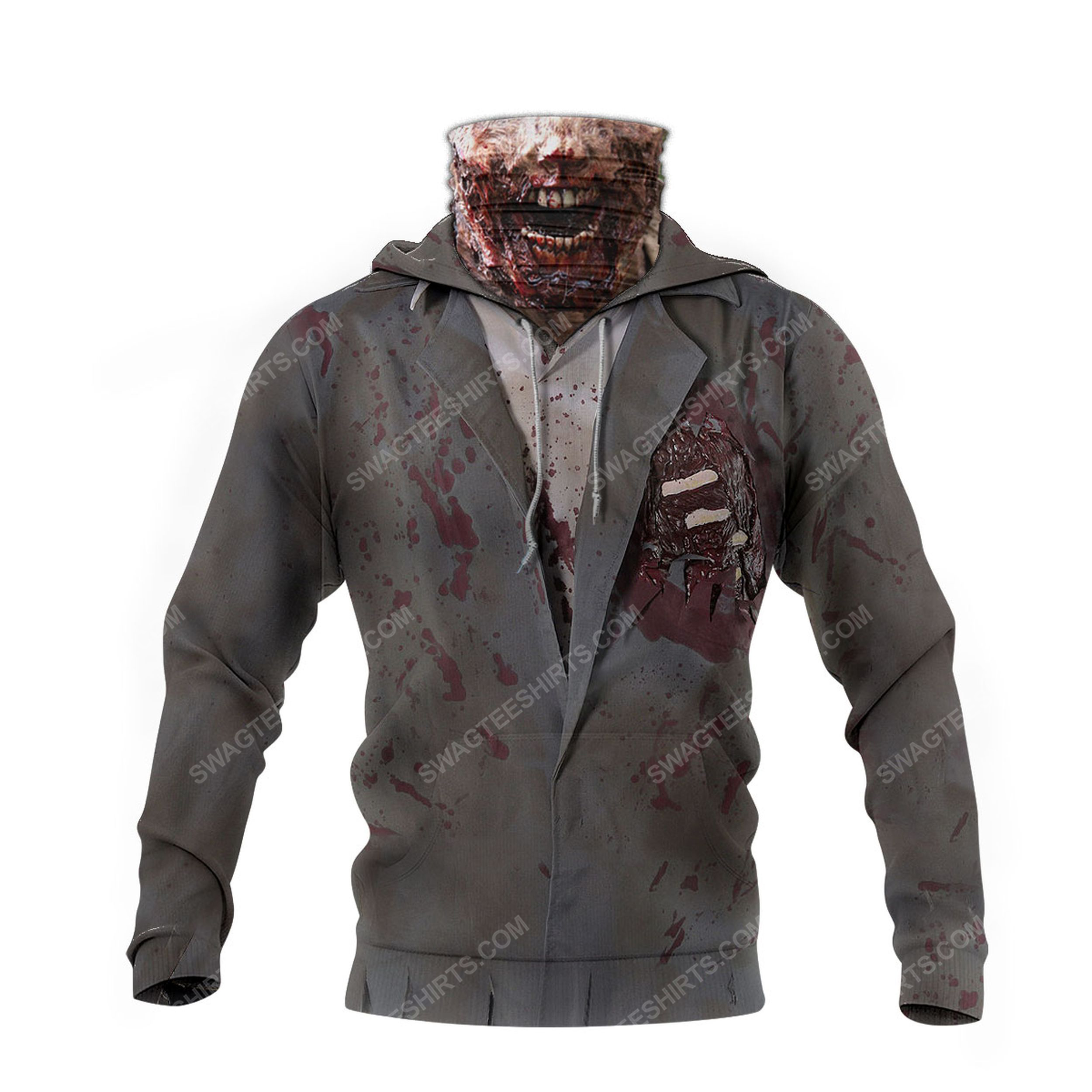 The zombie for halloween full print mask hoodie 4(1)