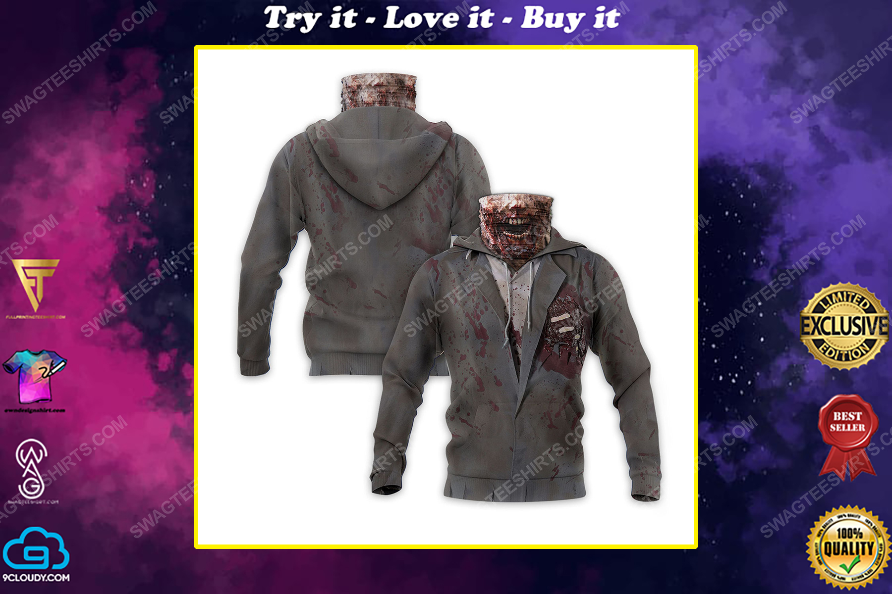 The zombie for halloween full print mask hoodie