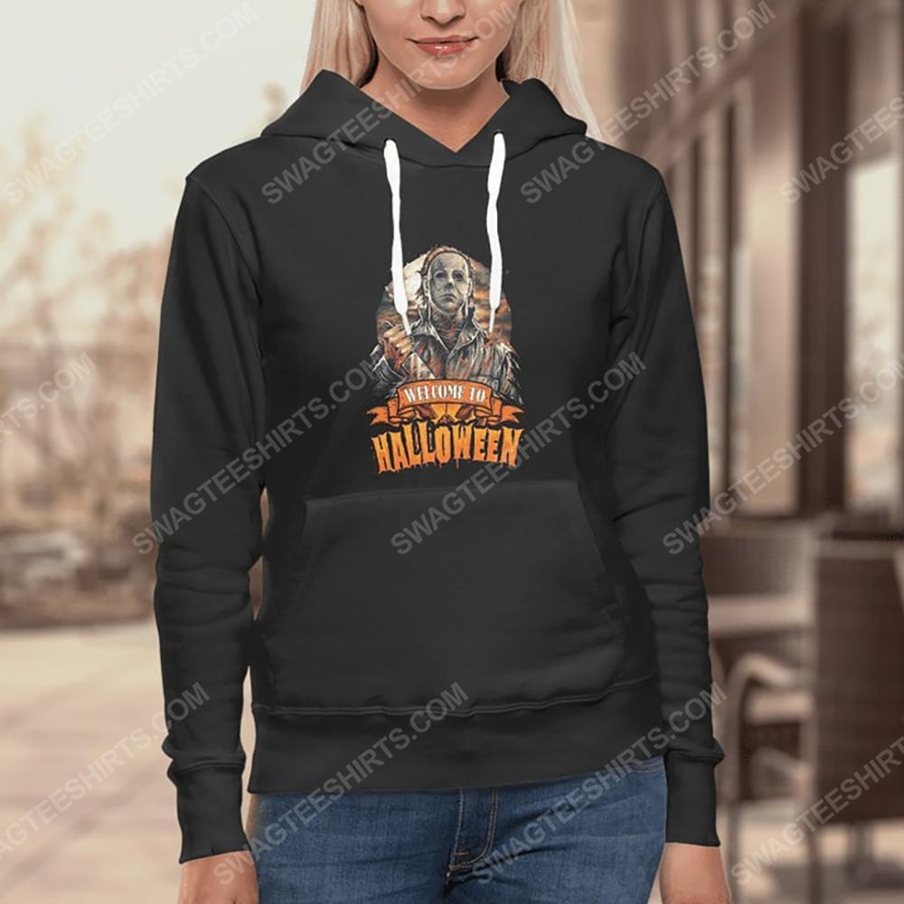 Vintage michael myers welcome to halloween hoodie 1(1)