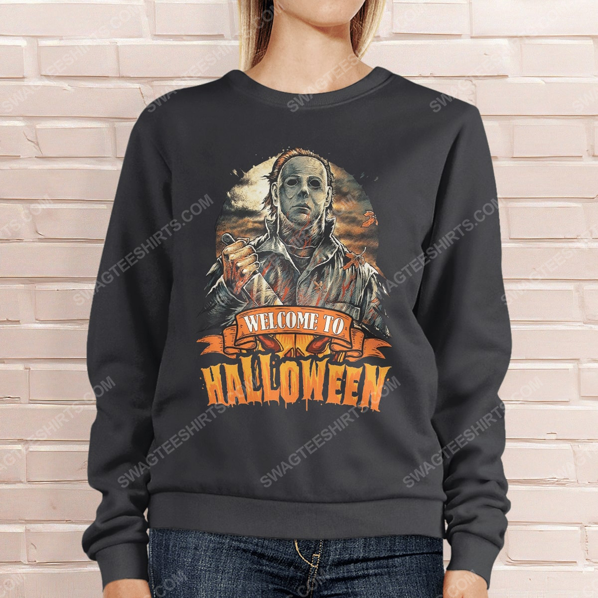Vintage michael myers welcome to halloween sweatshirt 1(1)