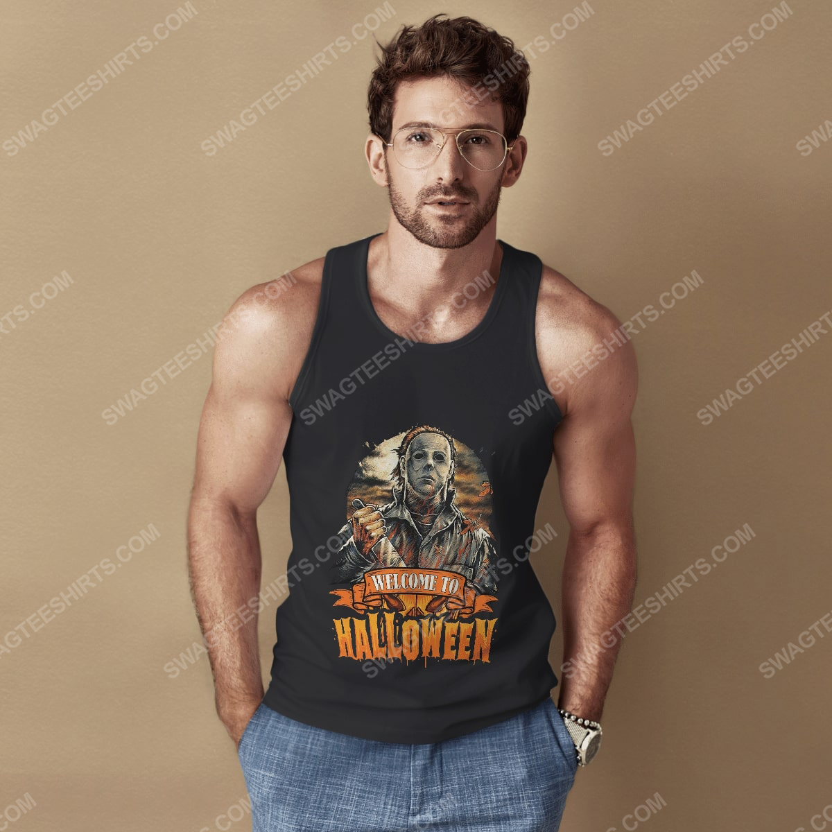 Vintage michael myers welcome to halloween tank top 1(1)