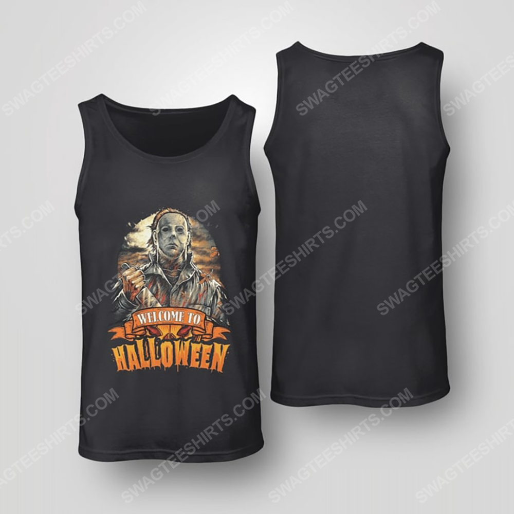 Vintage michael myers welcome to halloween tank top(1)