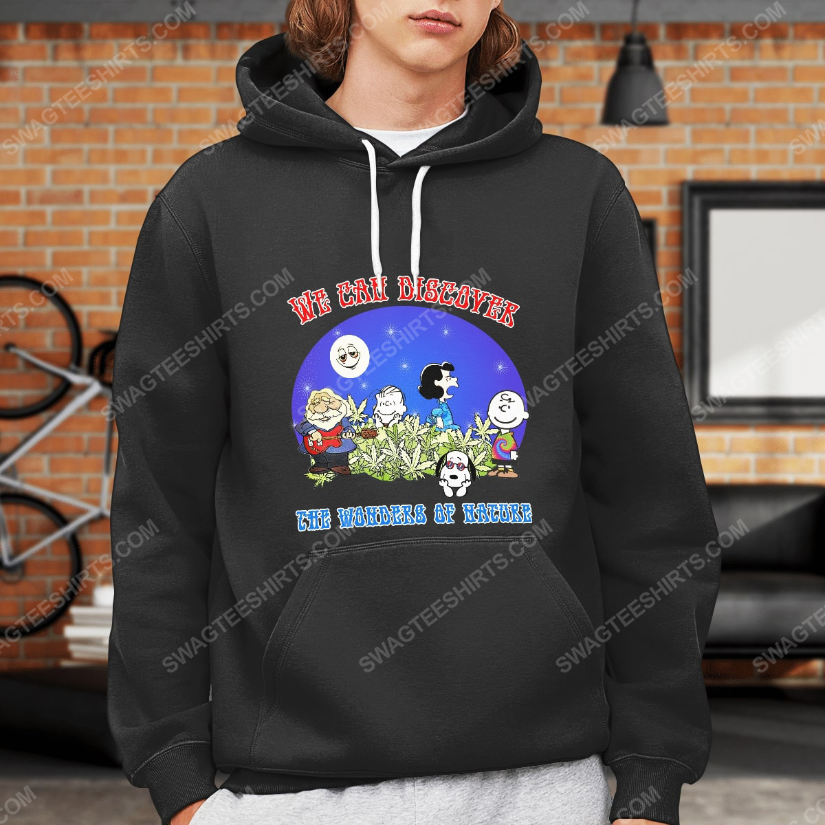 We can discover the wanders of nature charlie brown and snoopy and weed hoodie 1(1)