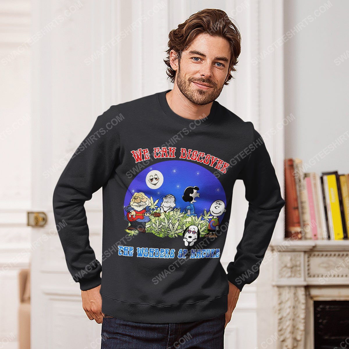 We can discover the wanders of nature charlie brown and snoopy and weed sweatshirt 1(1)