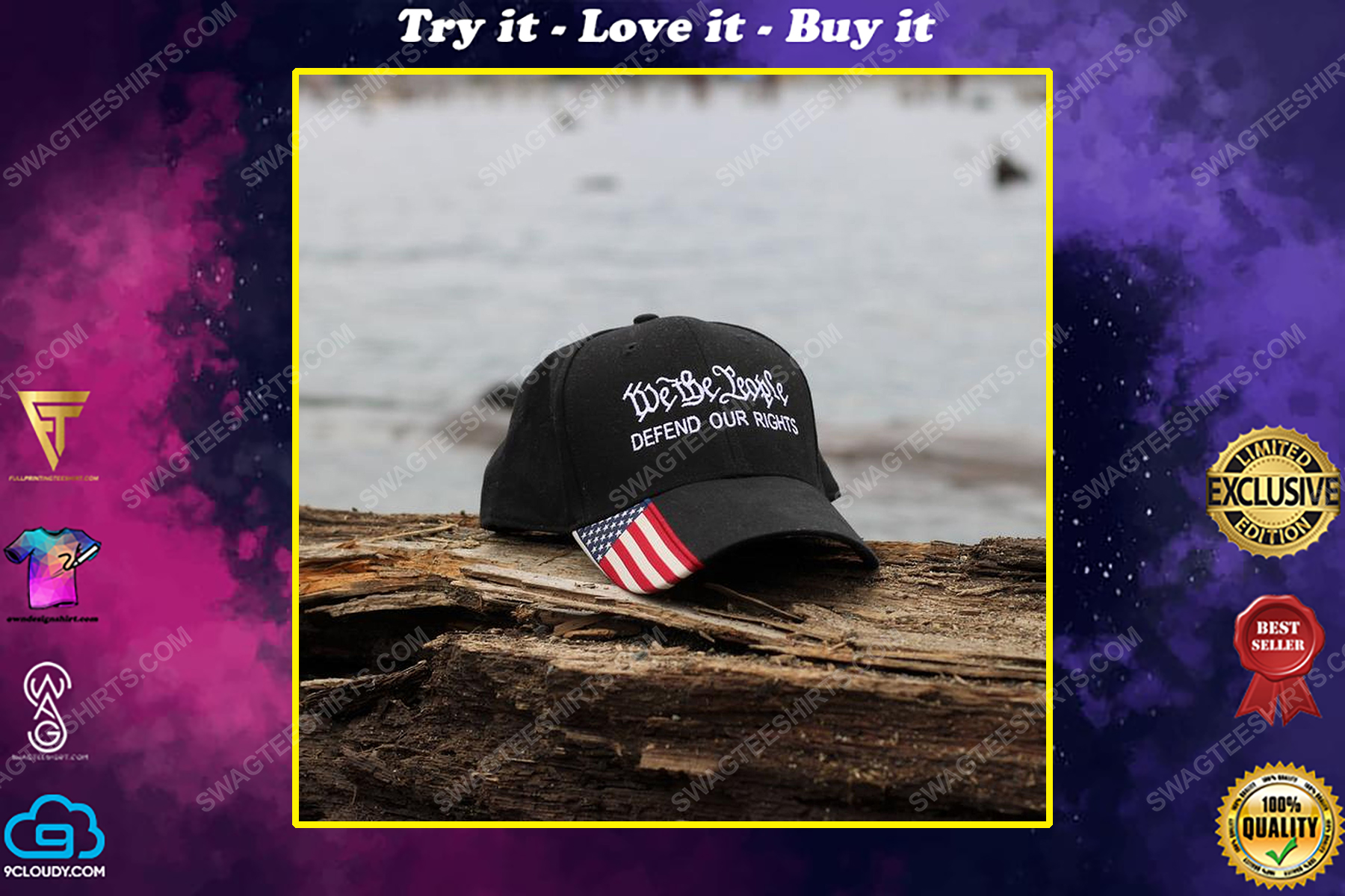 We the people defend our rights american flag full print classic hat