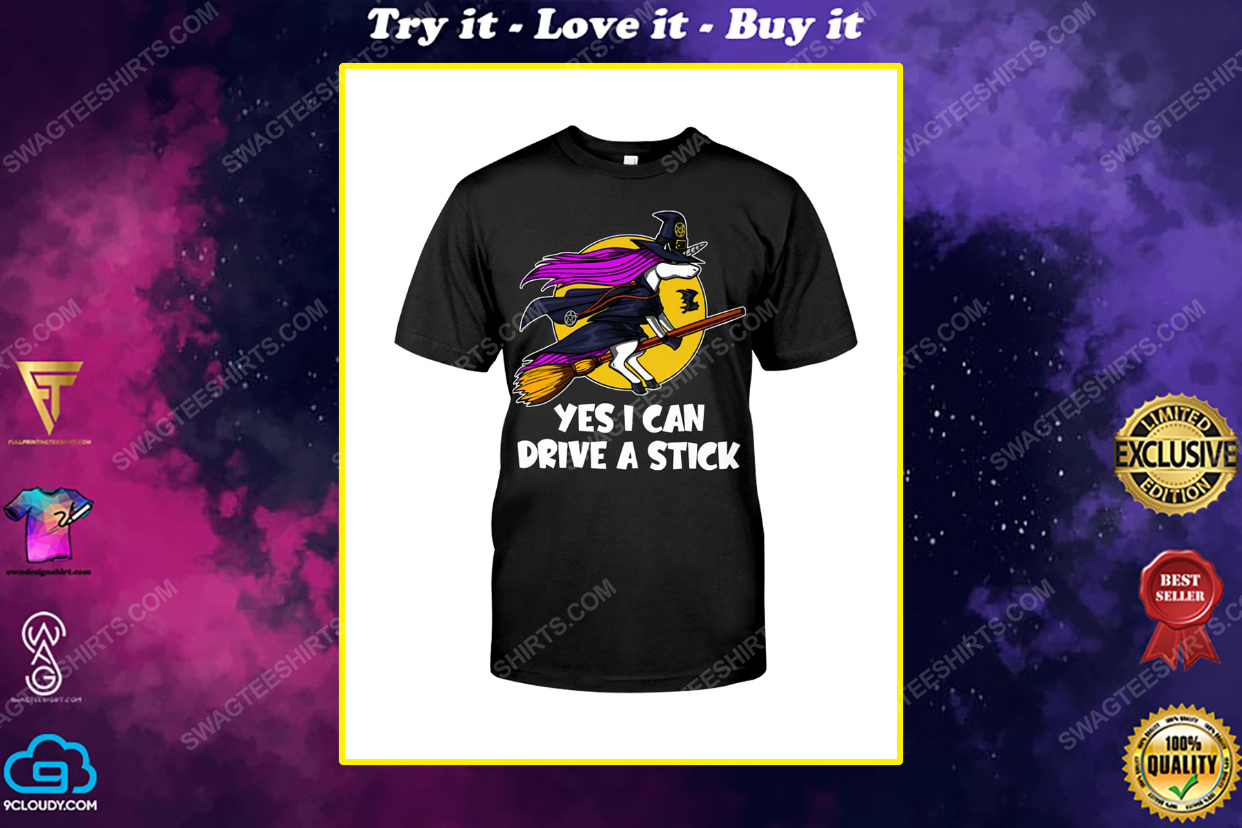 Yes i can drive a stick unicorn witch halloween shirt
