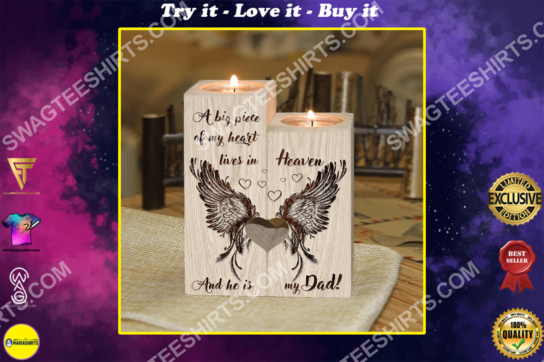 a big piece of my heart lives in heaven and he is my dad candle holder