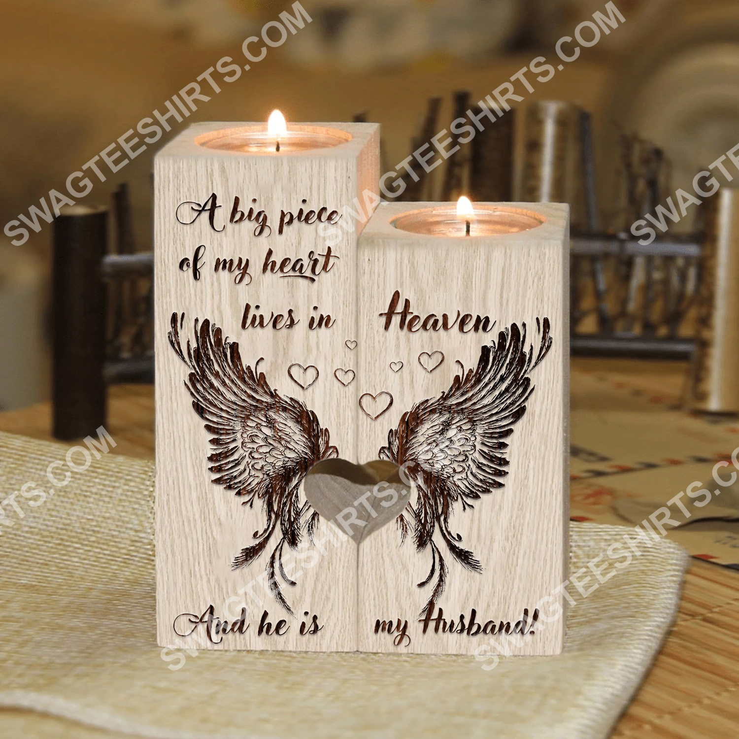a big piece of my heart lives in heaven and he is my husband candle holder 3 - Copy - Copy