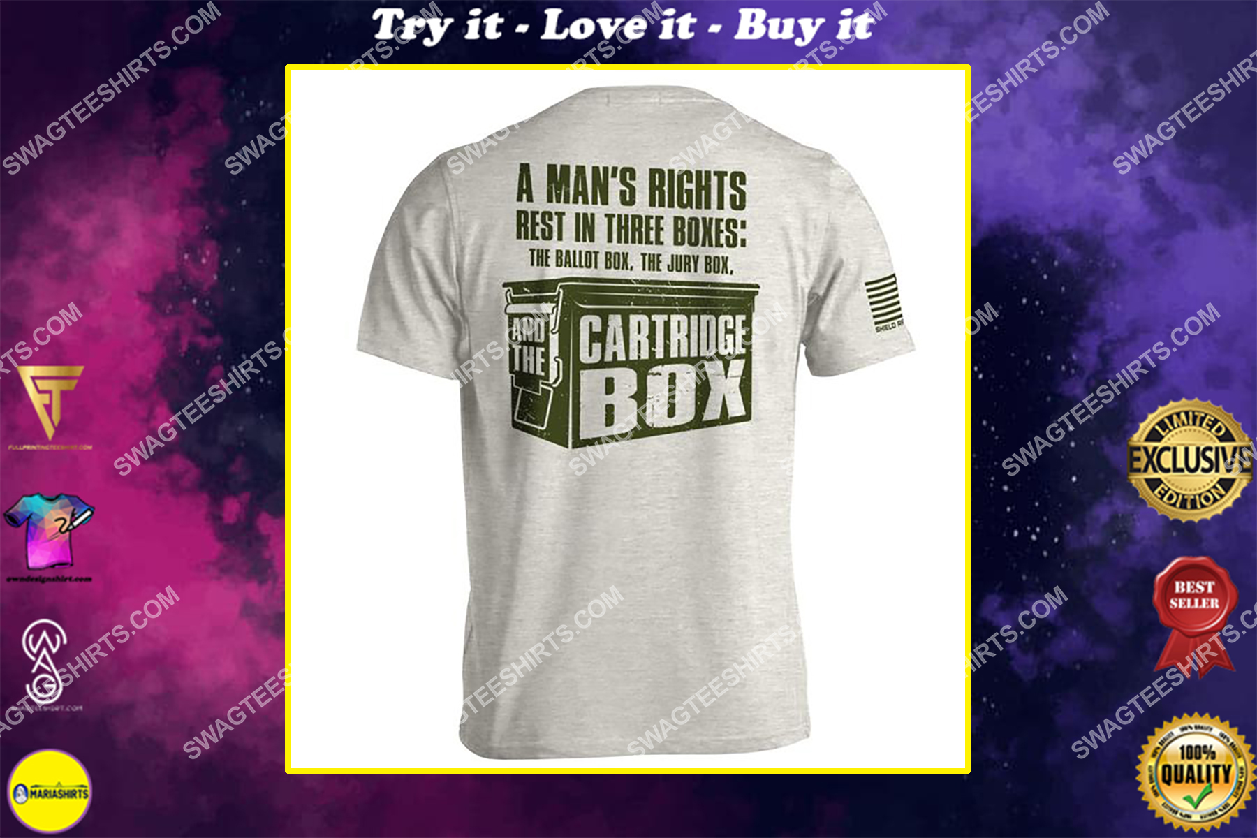 a man's rights rest in three boxes the ballot box jury box and the cartridge box shirt