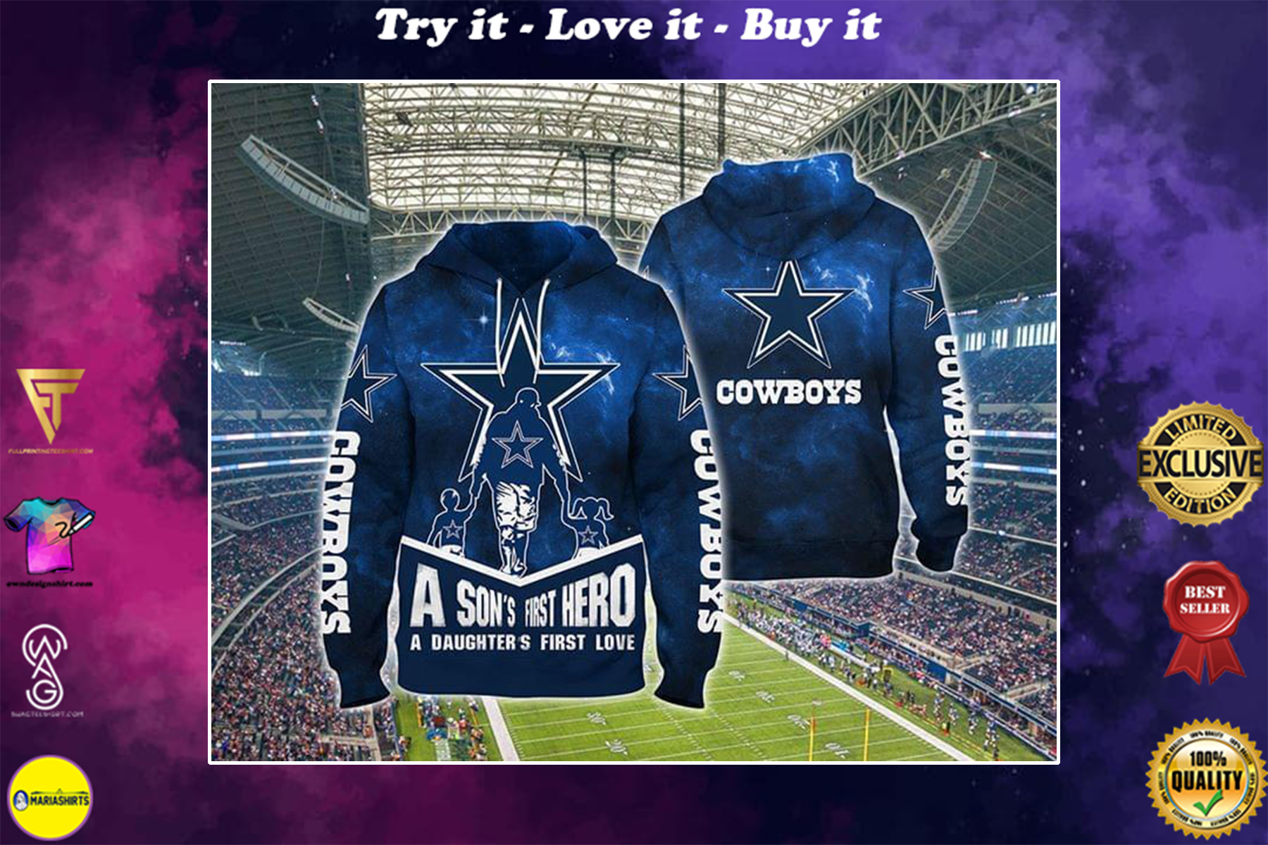 a sons first hero a daughters first love dallas cowboys full over printed shirt