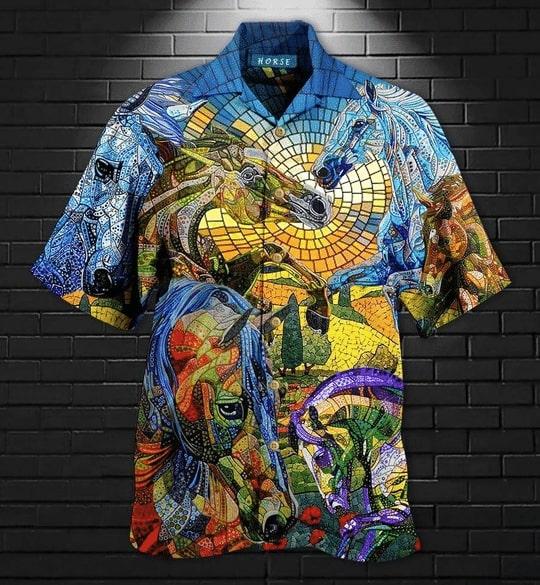 abstract horse all over printed hawaiian shirt 2