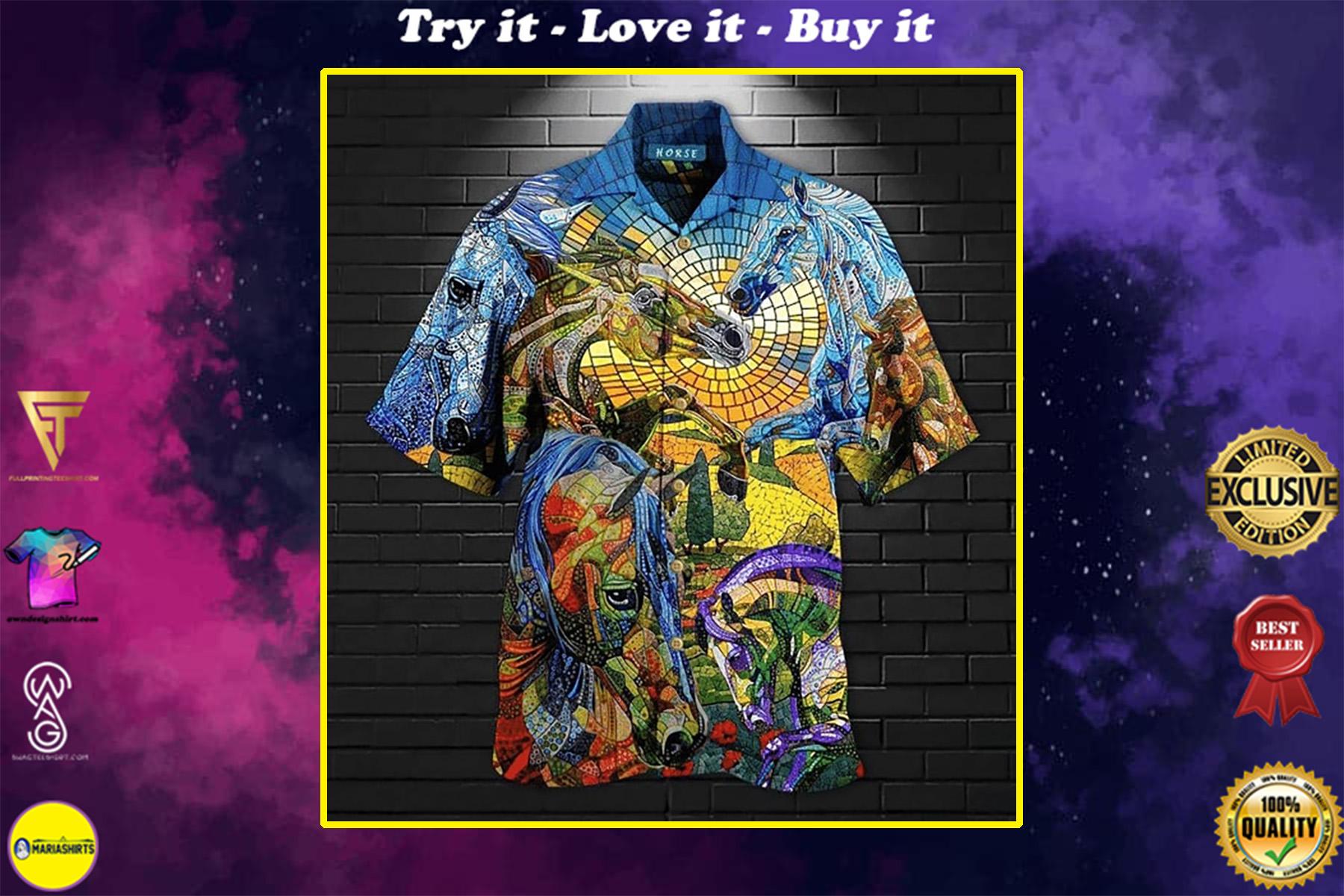 abstract horse all over printed hawaiian shirt