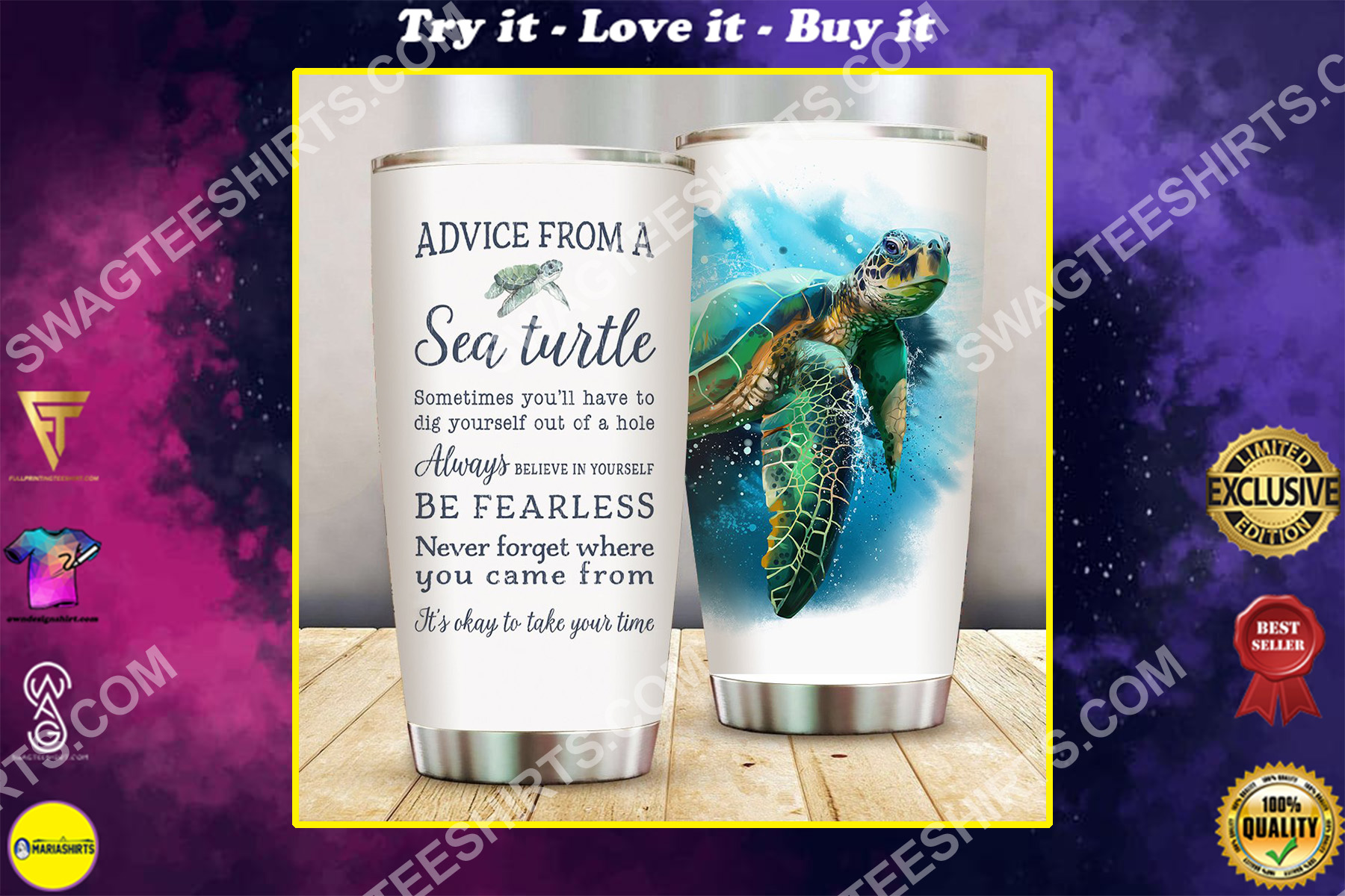 advice from a sea turtle all over printed stainless steel tumbler