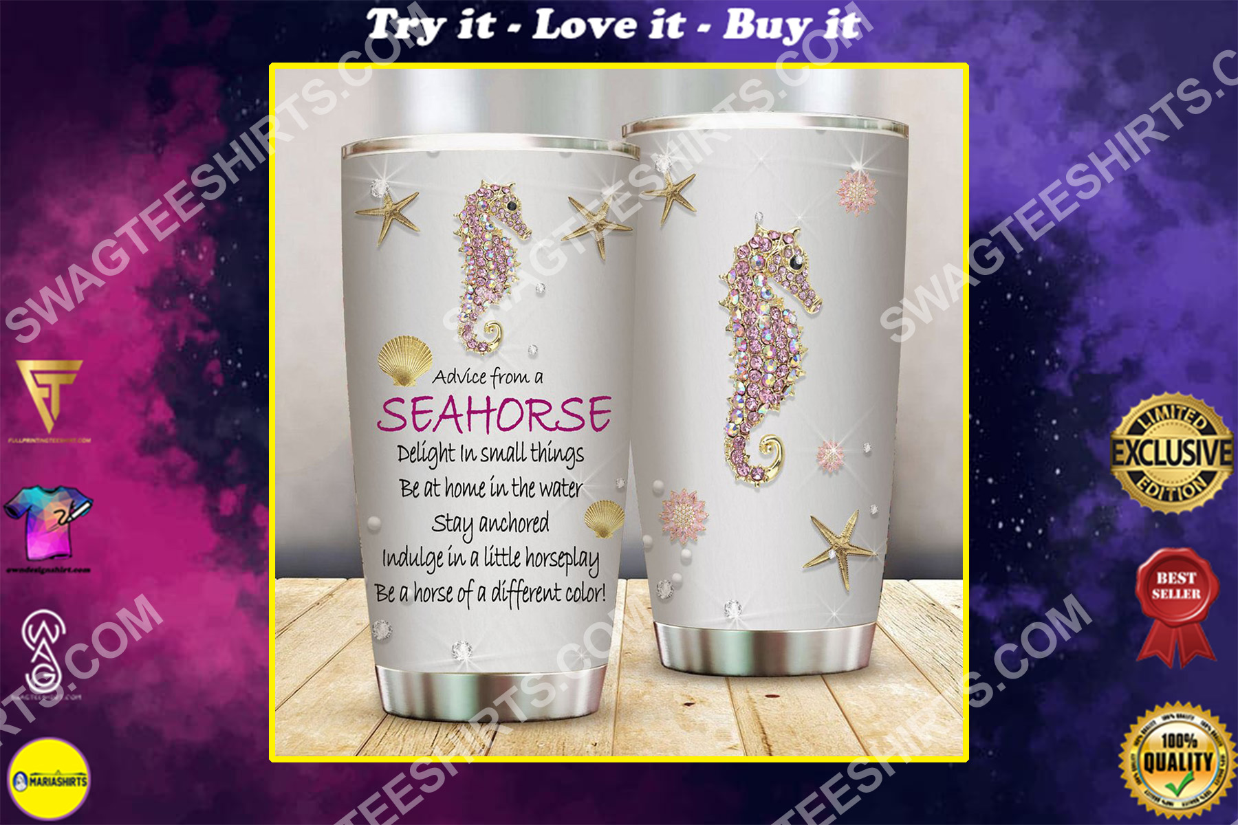 advice from a seahorse treasures all over printed stainless steel tumbler