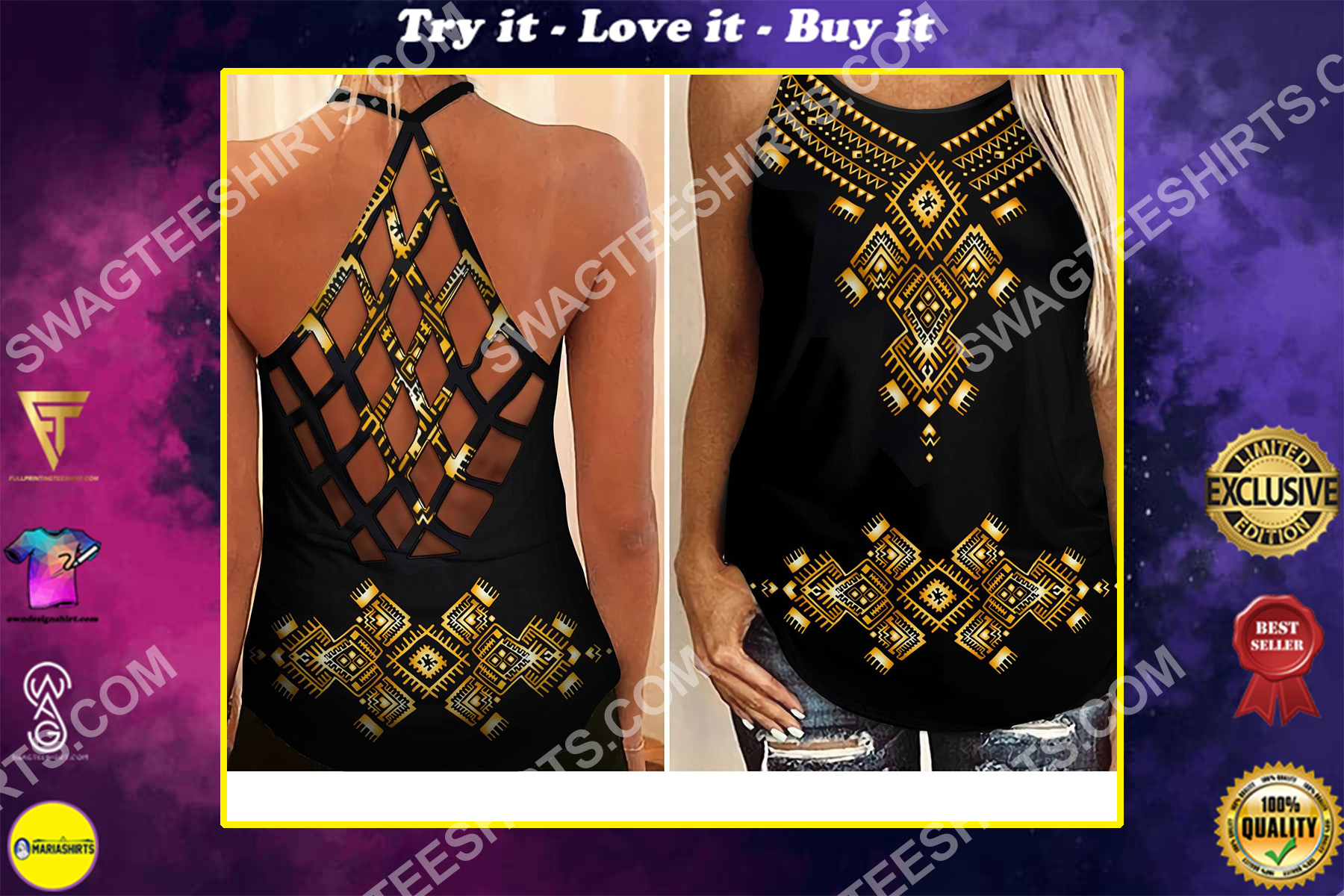 african symbol all over printed strappy back tank top