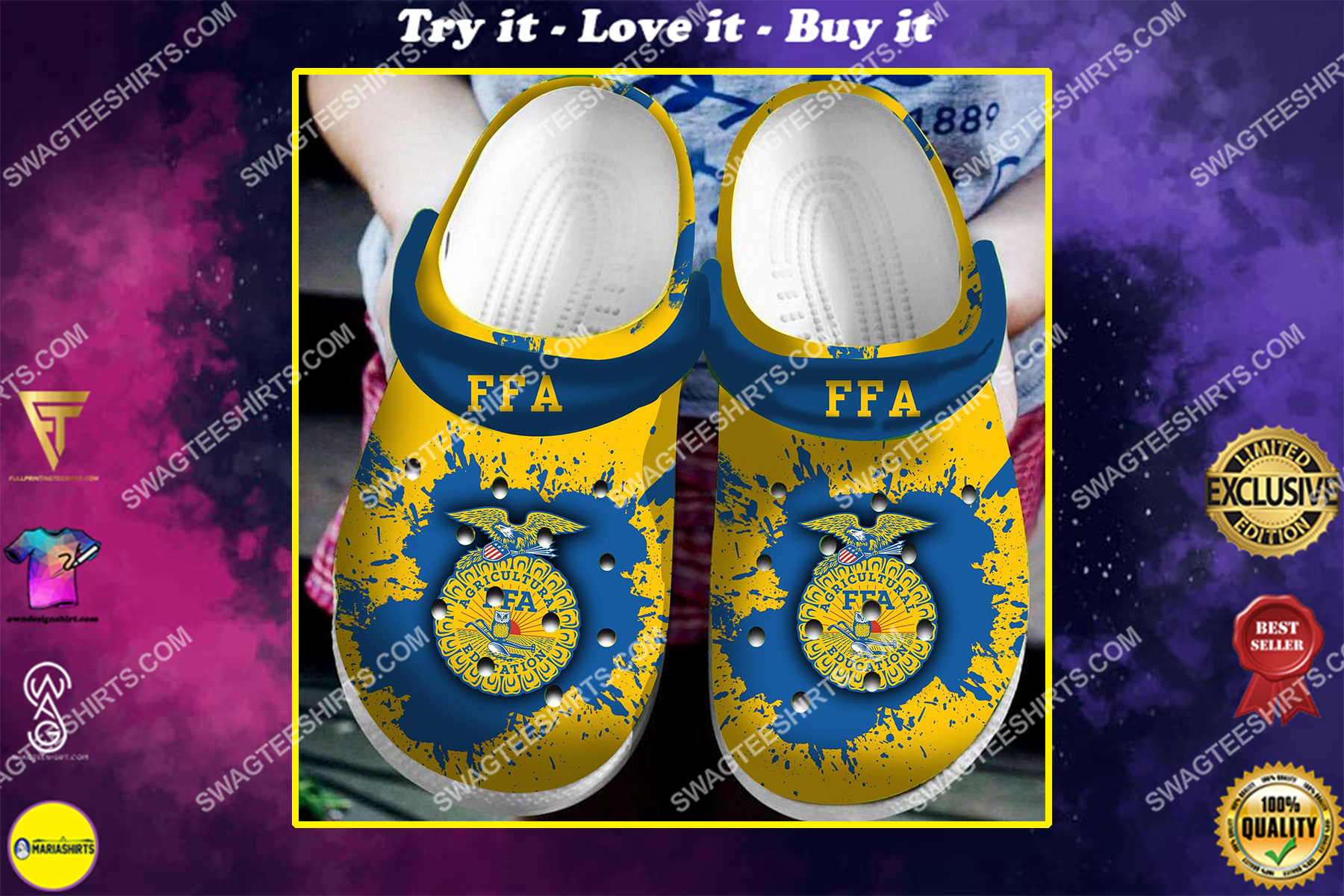 agriculture ffa all over printed crocs crocband clog