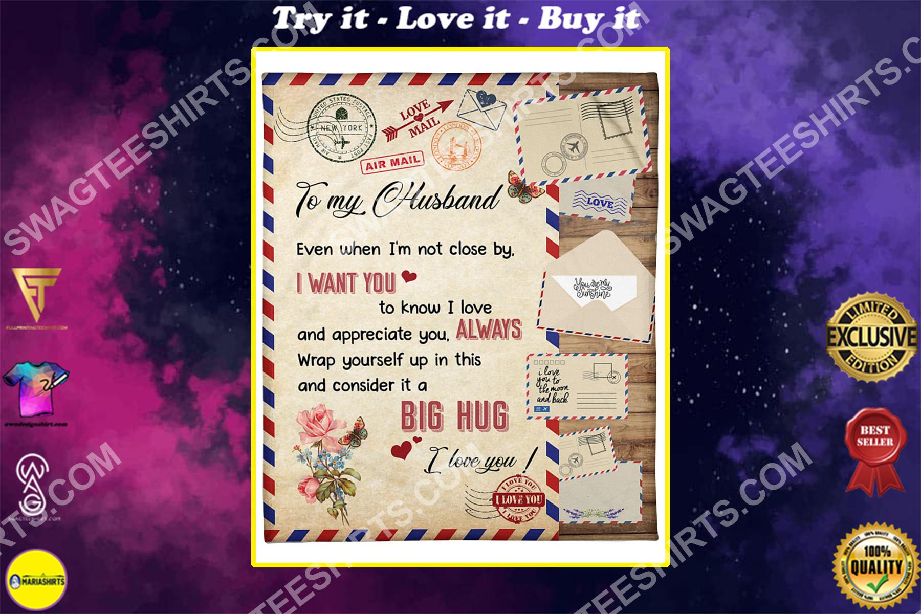 air mail to my husband i want you i love you blanket