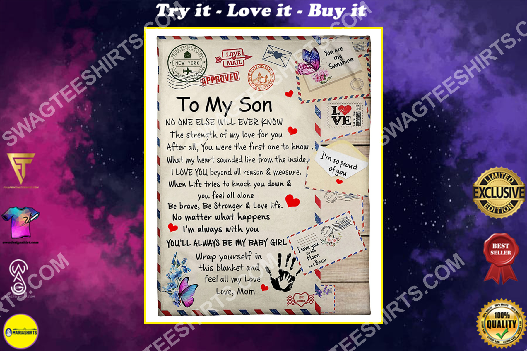 air mail to my son be strong and love life your mom blanket