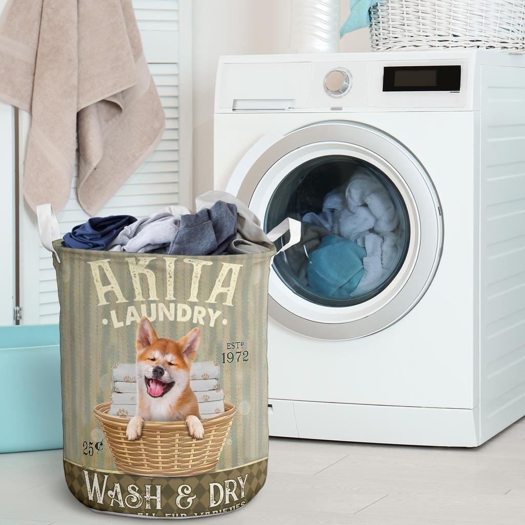 akita dog all over printed laundry basket 5
