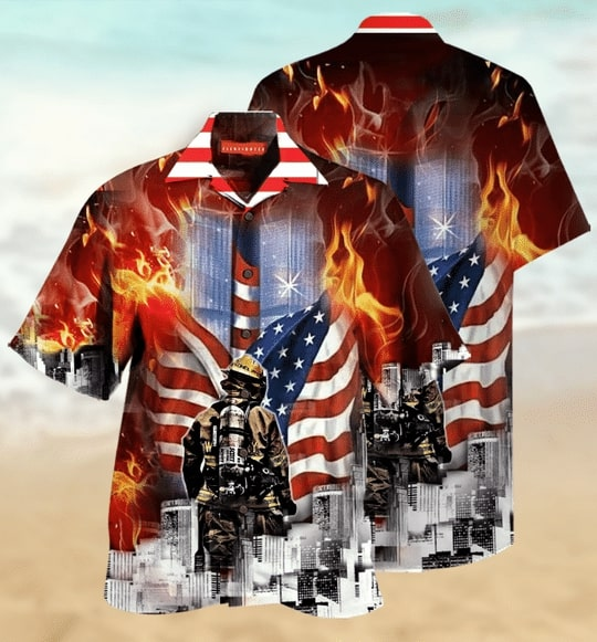 always remember firefighter all over printed hawaiian shirt 2