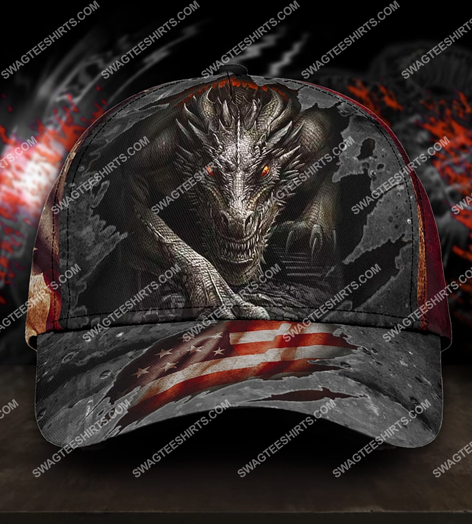 america flag and dragon all over printed classic cap 3 - Copy (2)