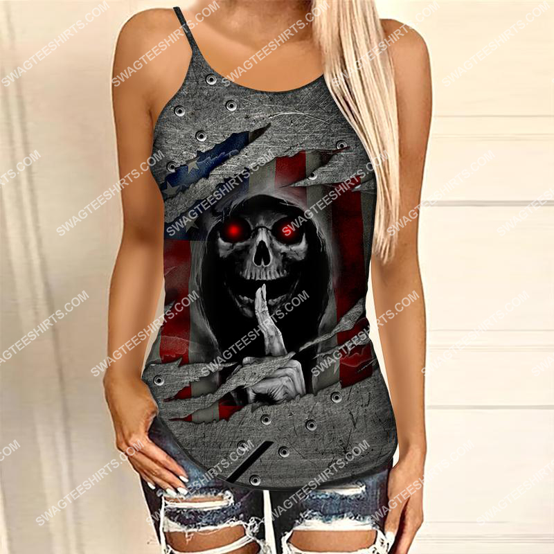 america flag and skull all over printed strappy back tank top 1 - Copy (2)