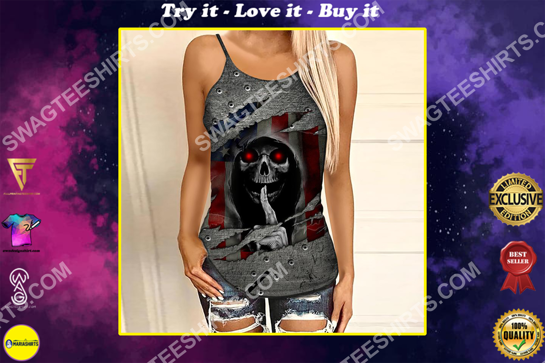 america flag and skull all over printed strappy back tank top