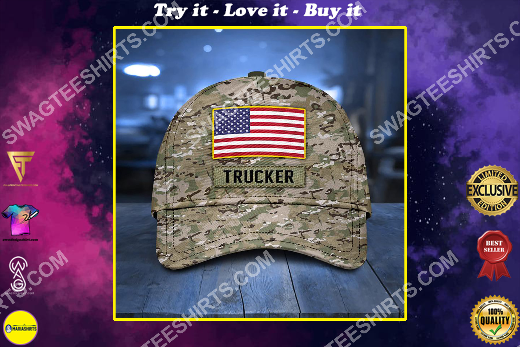 america flag and trucker camo all over printed classic cap