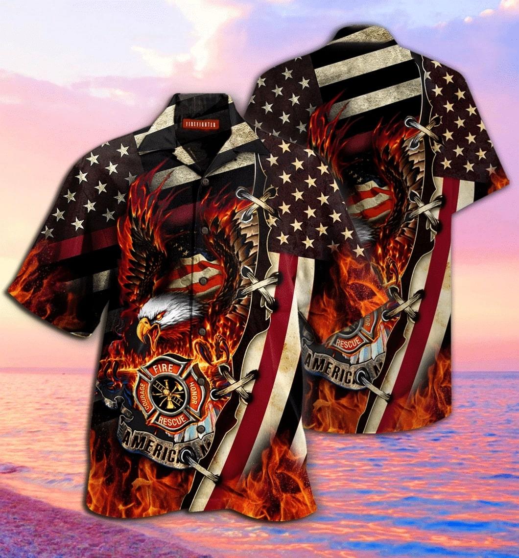 american firefighter all over printed hawaiian shirt 2