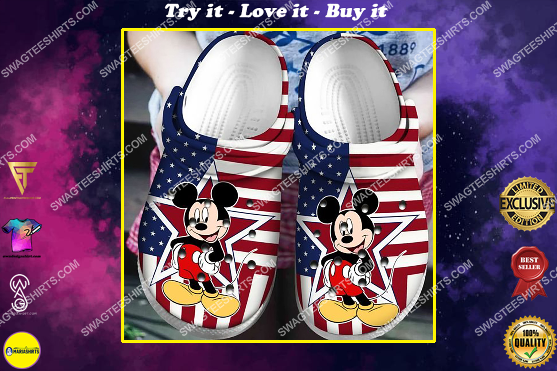 american flag and mickey mouse all over printed crocs crocband clog