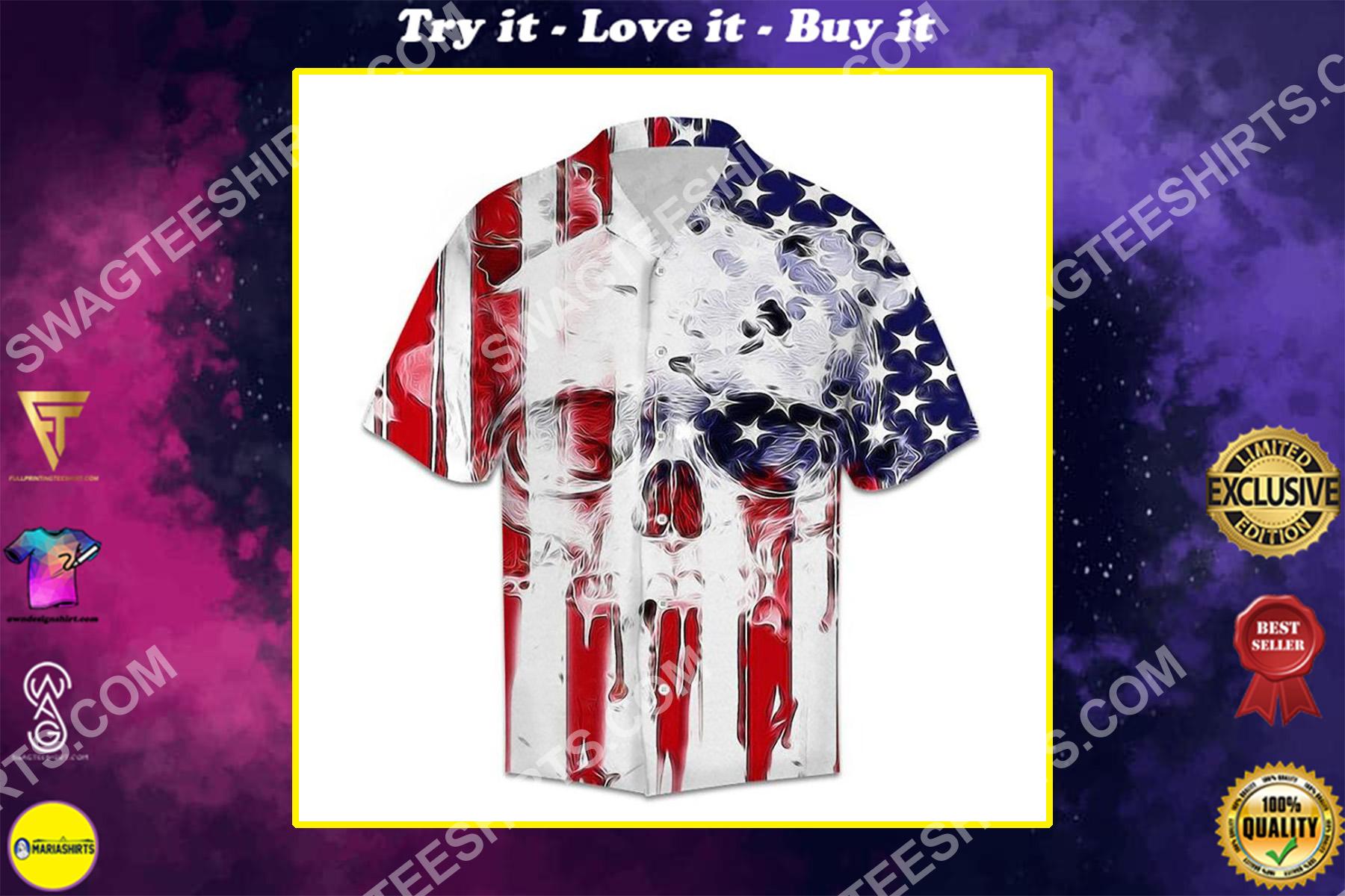 american flag and skull all over printed hawaiian shirt