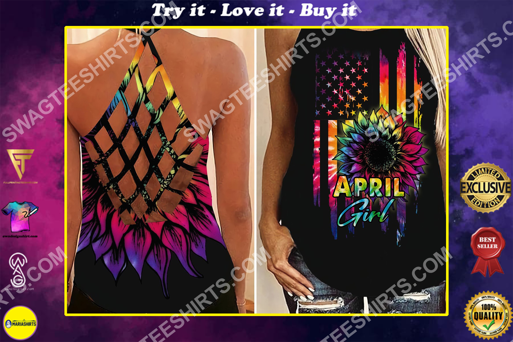 american flag april girl colorful all over printed strappy back tank top