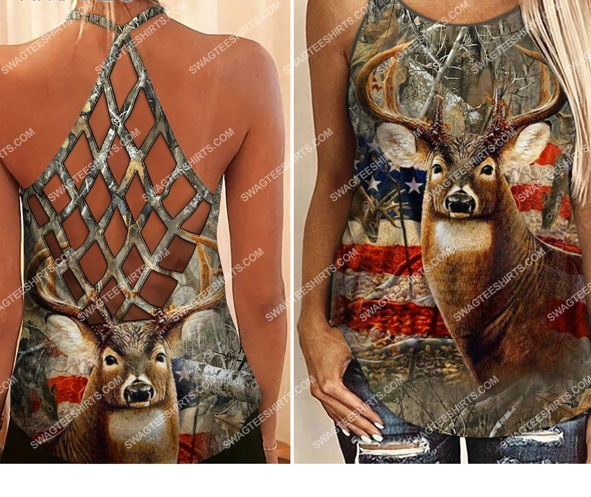 american flag deer hunting girl all over printed strappy back tank top 2 - Copy (2)