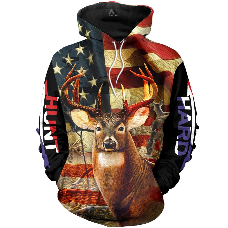 american flag deer hunting love hunter full over printed hoodie 1