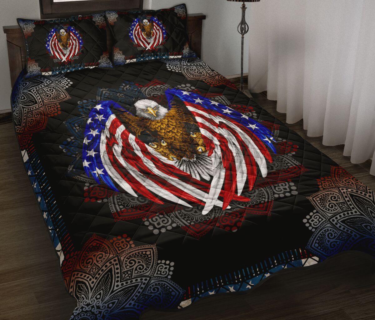 american flag eagle mandala version full over print quilt 2