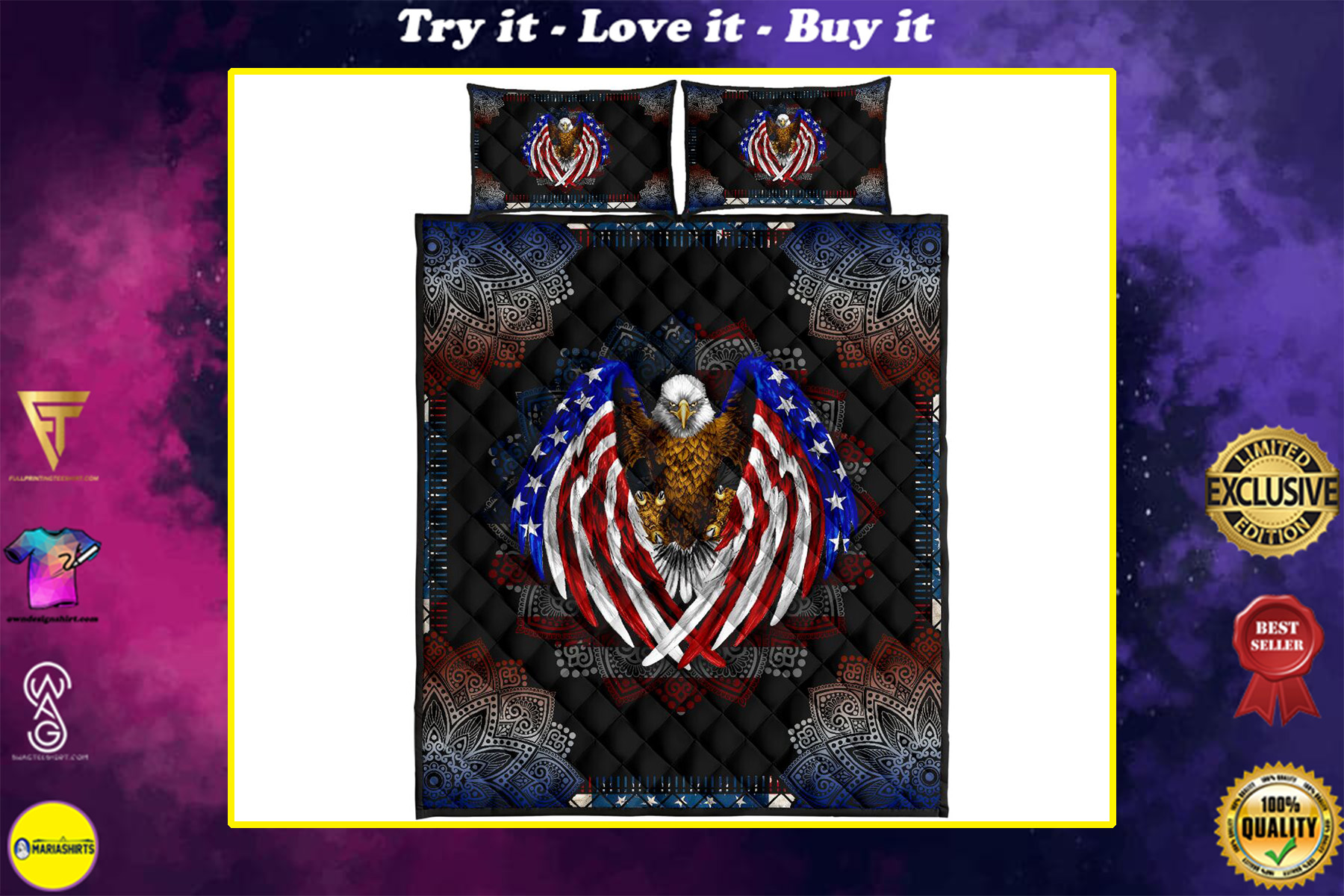 american flag eagle mandala version full over print quilt