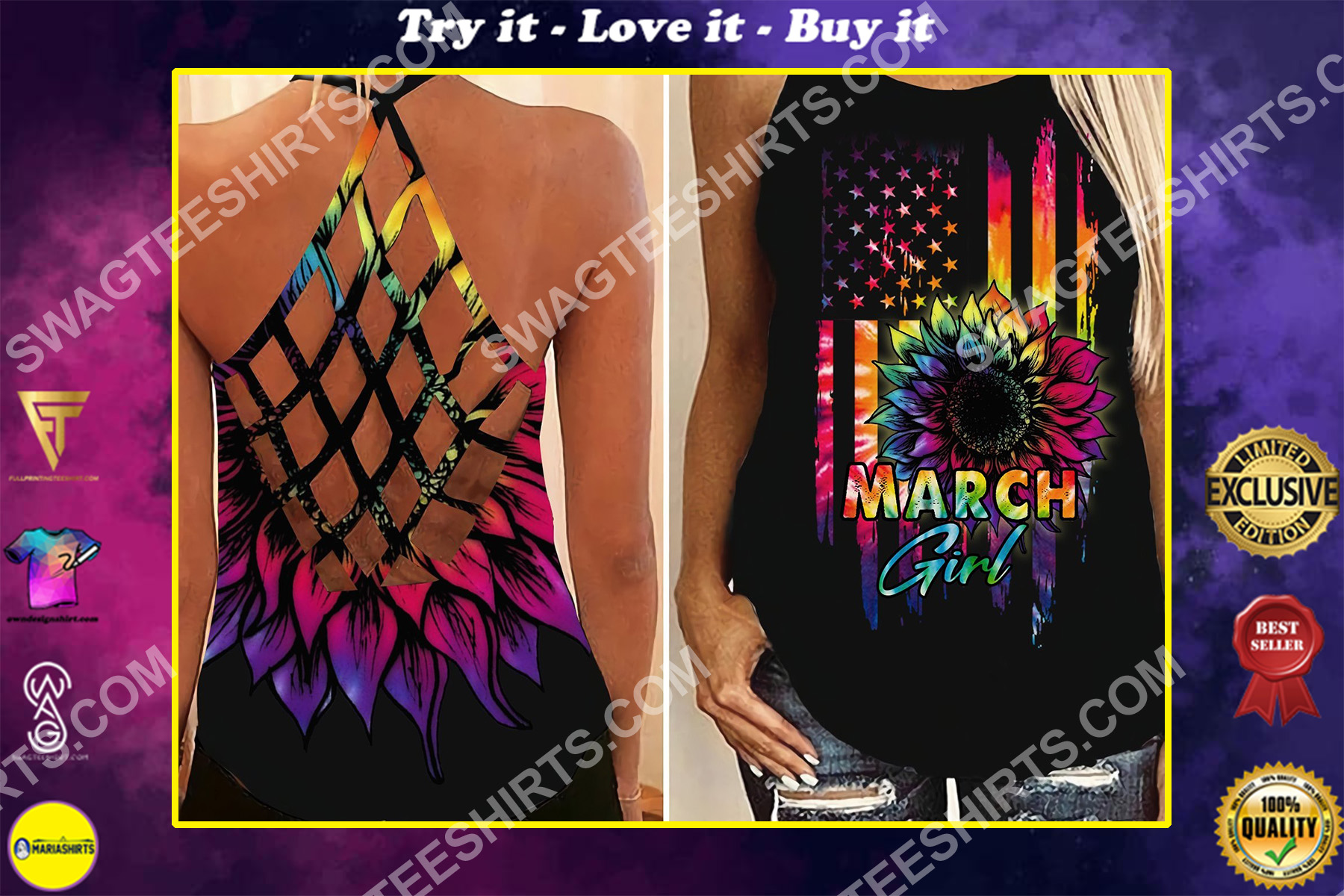 american flag march girl all over printed strappy back tank top
