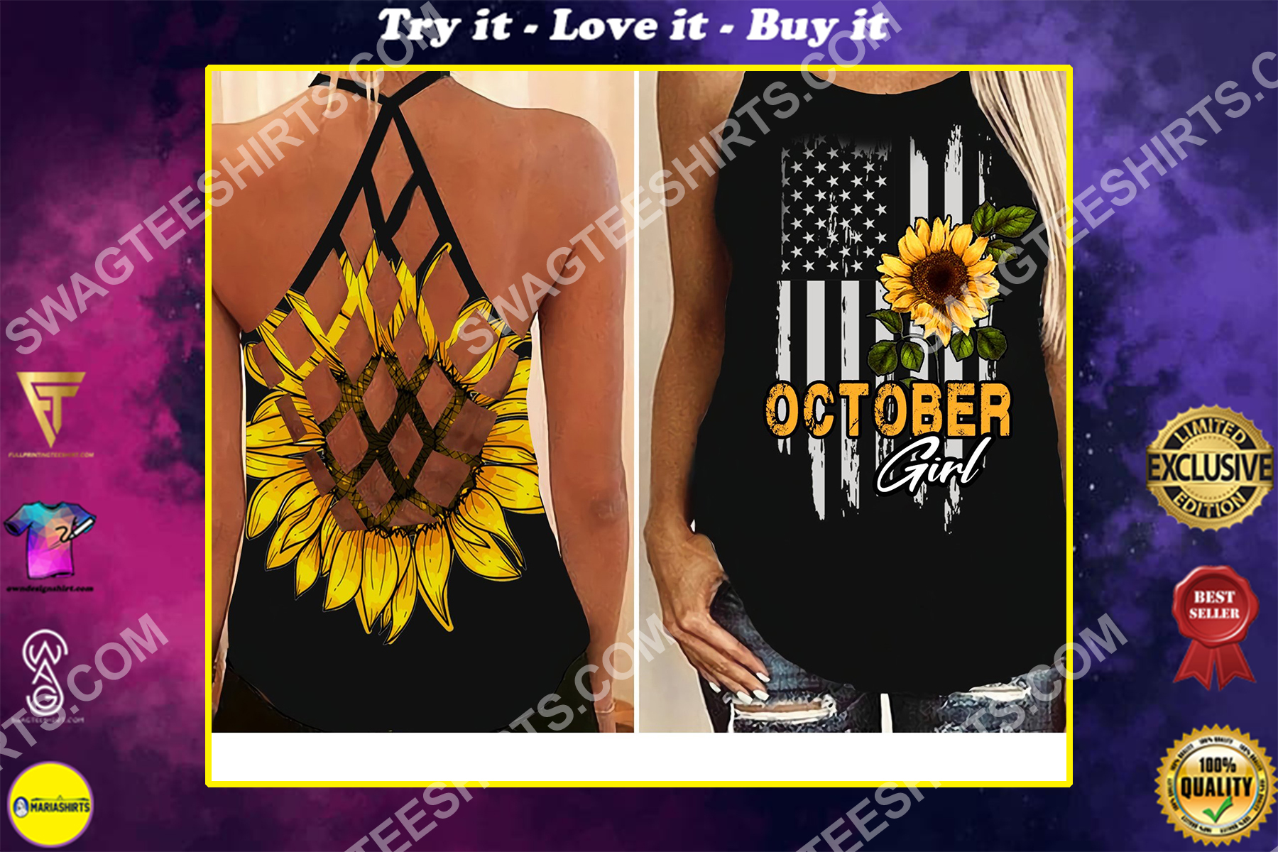american flag october girl all over printed strappy back tank top