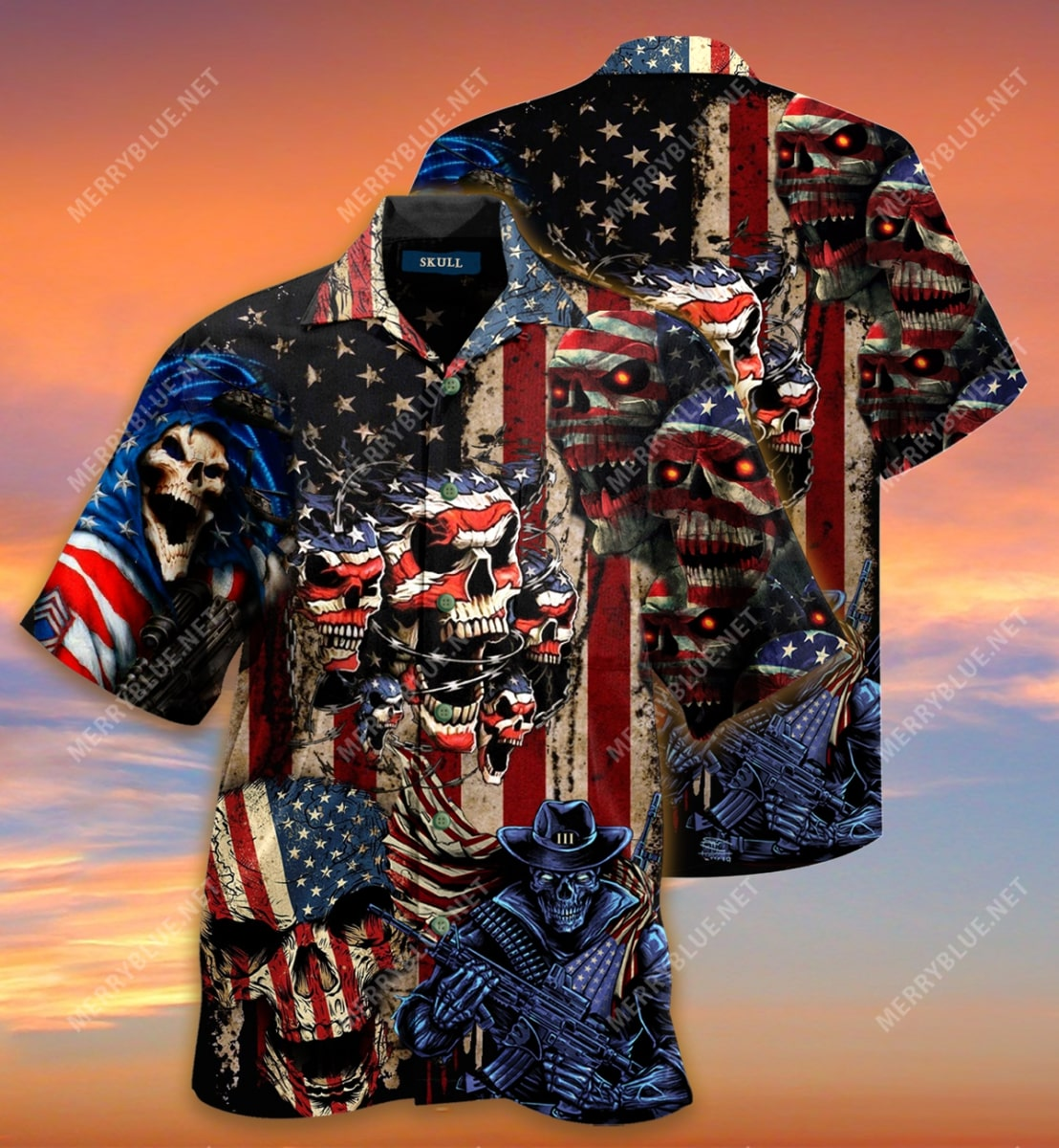 american flag skull all over printed hawaiian shirt 3