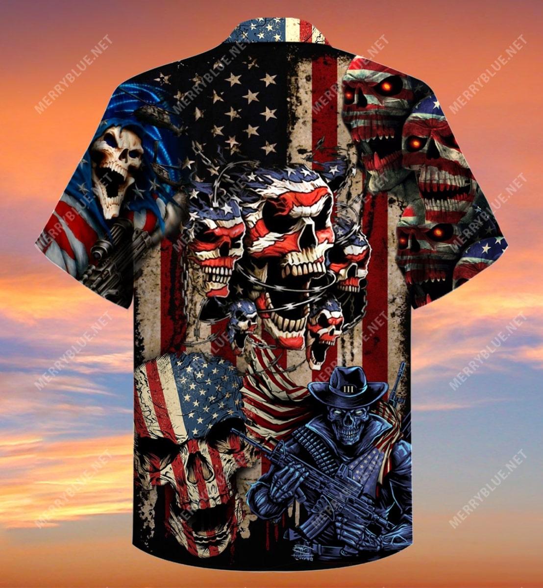 american flag skull all over printed hawaiian shirt 4
