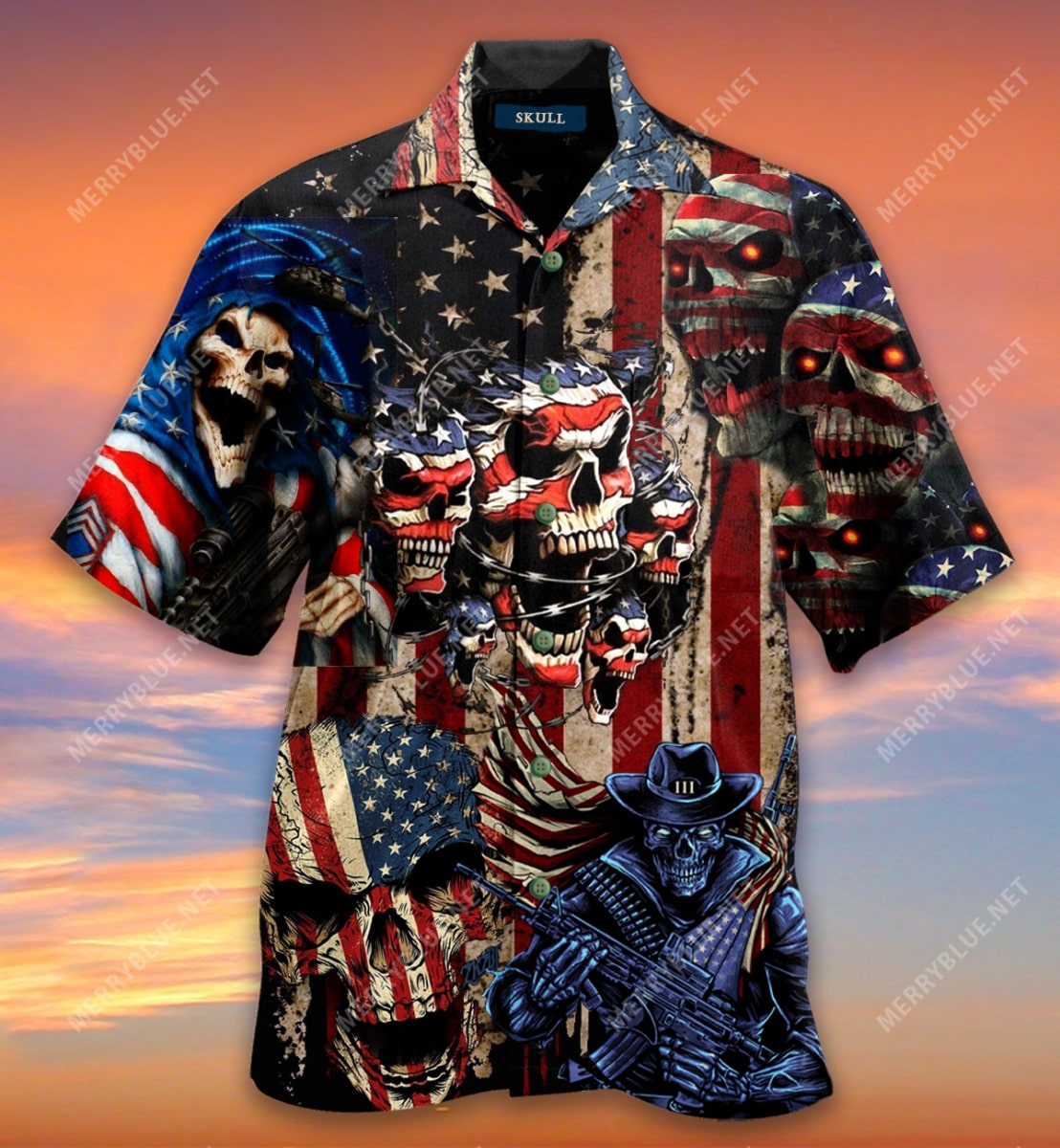 american flag skull all over printed hawaiian shirt 5