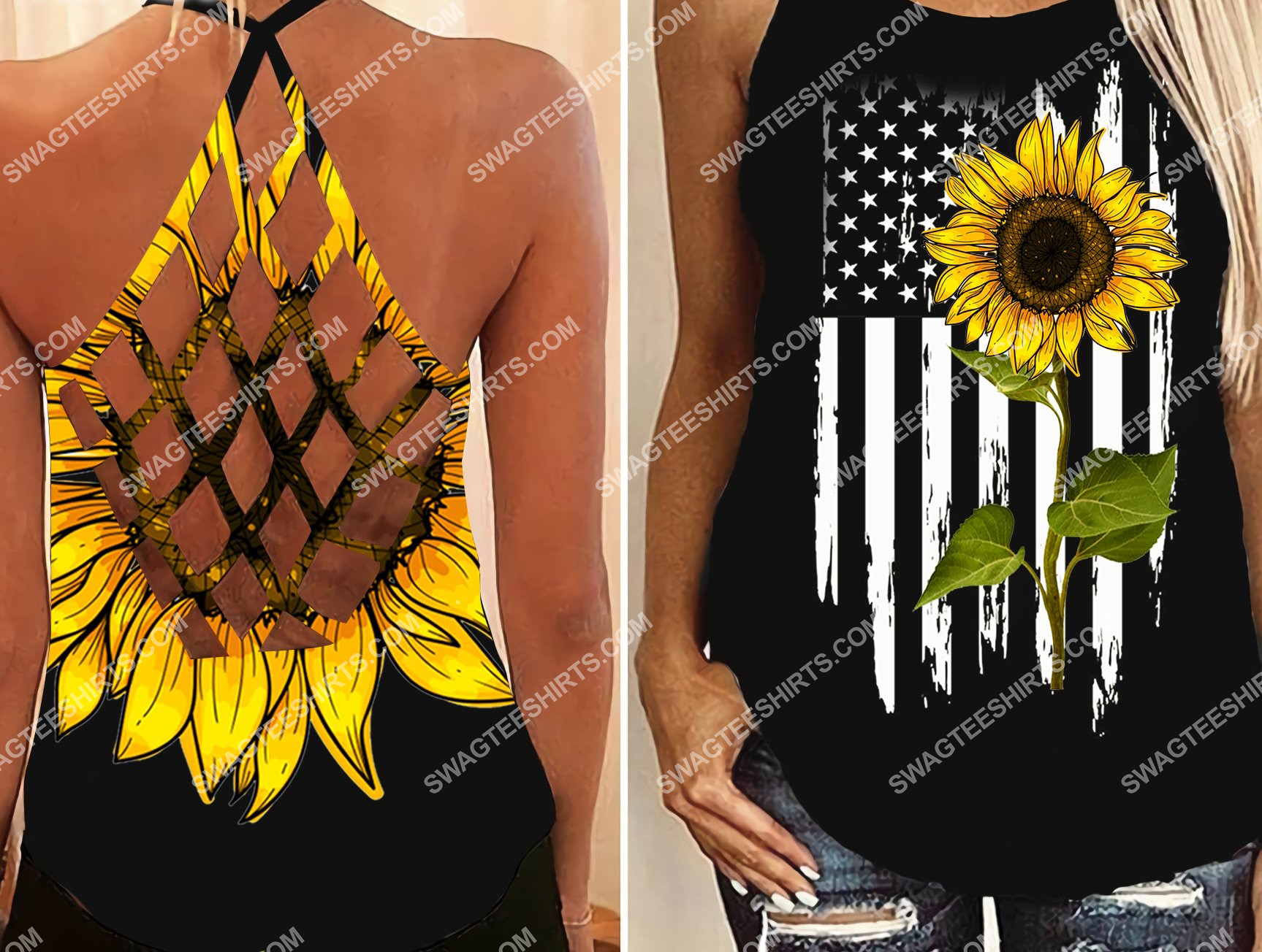 american flag sunflower all over printed strappy back tank top 2 - Copy (2)