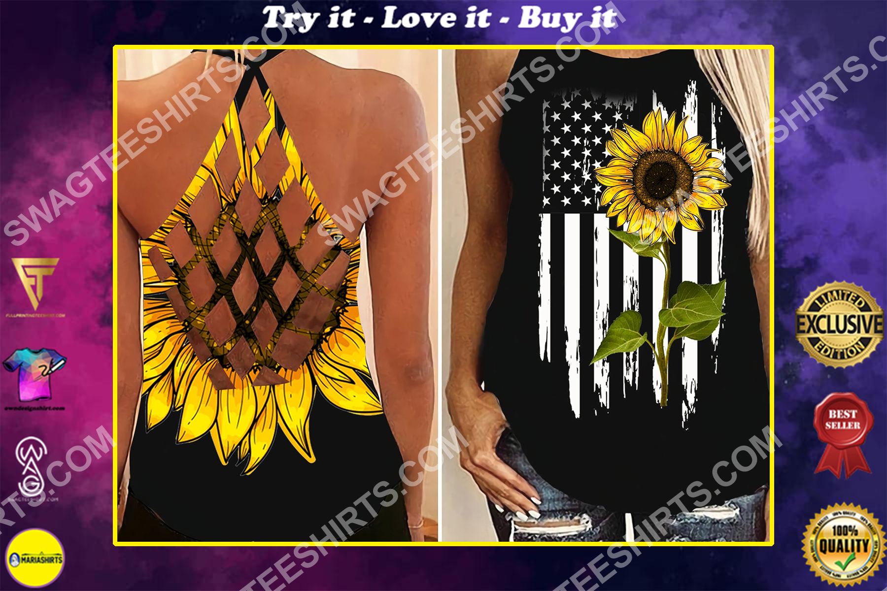 american flag sunflower all over printed strappy back tank top